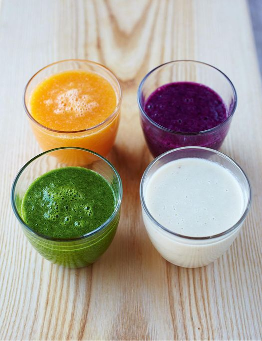 4 smoothies different fruits in them