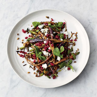 Carrot & grain salad with mint and pomegranate