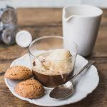 affogato dessert with ice cream and biscuits on the side
