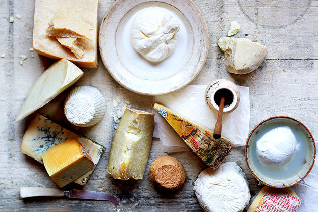 Italian cheeses - loads of cheese varities on a wooden board