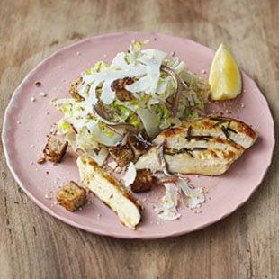 Crunchy raw veg, creamy yoghurt Caesar dressing, juicy chicken