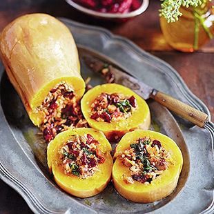 This lovely baked squash is a perfect veggie or vegan alternative to turkey