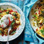 veggie christmas rice recipe with poached egg on top