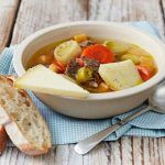 st davids day soup with potatoes, veg, meat, cheese and bread