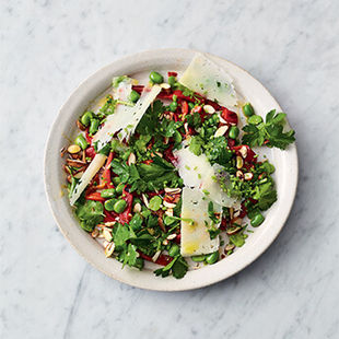 Epic broad bean salad with roasted peppers & Manchego
