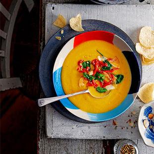Sweet potato, coconut & cardamom soup. A hug in a bowl.