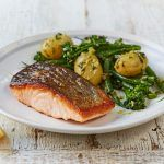 New potato recipes with salmon and green veg and pesto