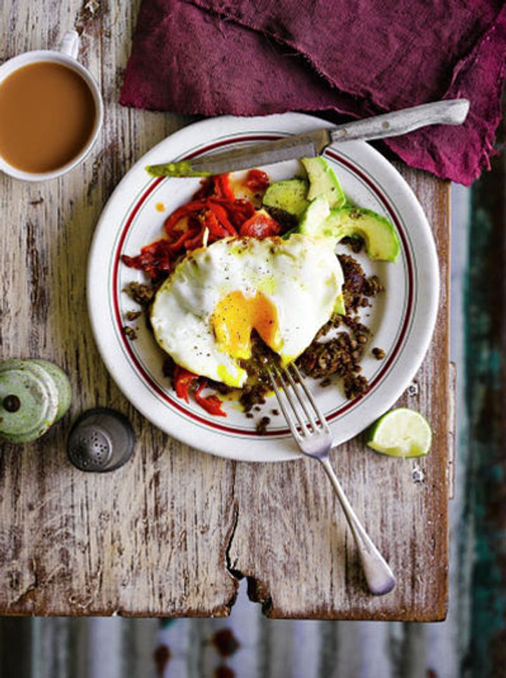 refried lentils with egg and veg