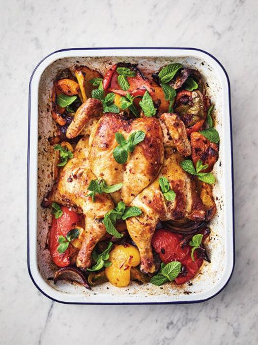 harissa chicken traybake with veg