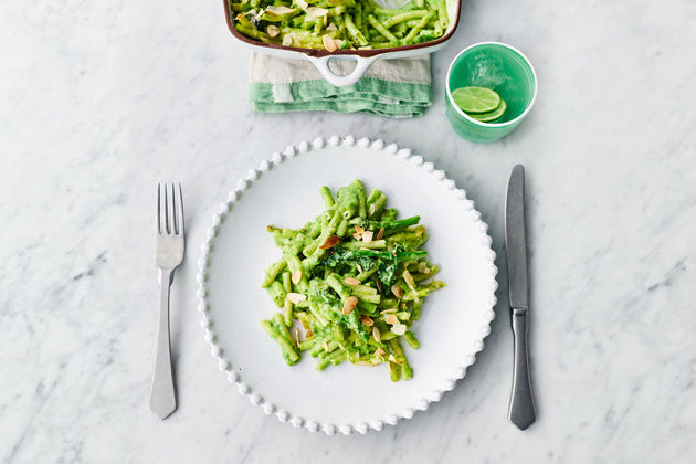 Pasta bakes - Greens mac and cheese on a plate