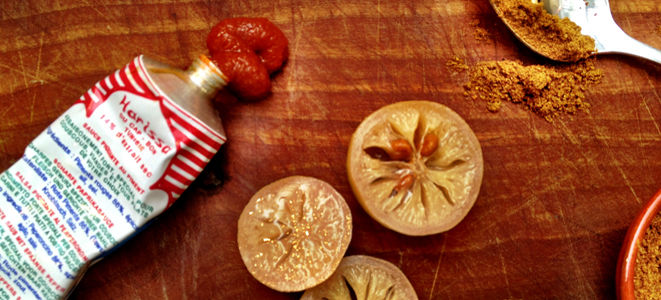 preserved pickled lemons with harissa paste and spices