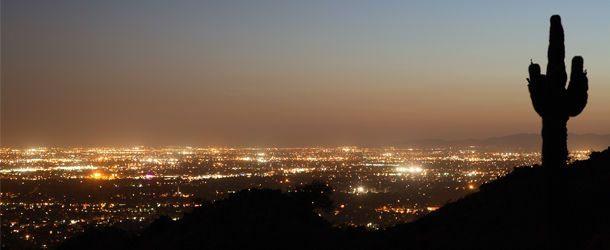 American landscape view at night