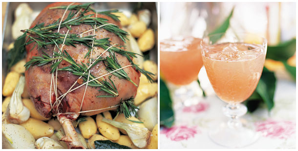 st David's Day meat recipe on top of potatoes with rosemary attached and cocktail drink