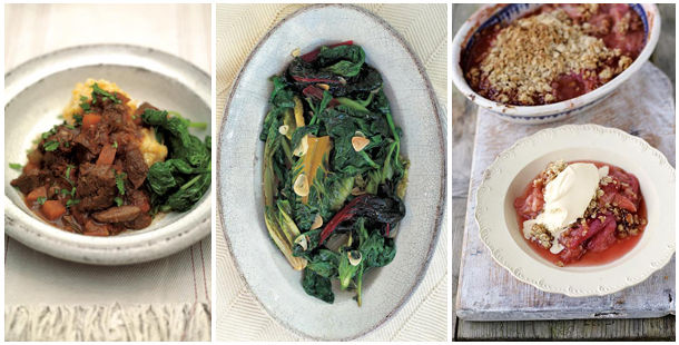St Patrick's Day meal idea, beef, spinach and rhubarb crumble