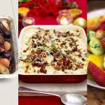 roast beef with shallots, fruit salad dessert
