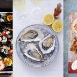 3 seafood recipes next to each other