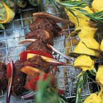barbecue marinaded meats with veg on skewers