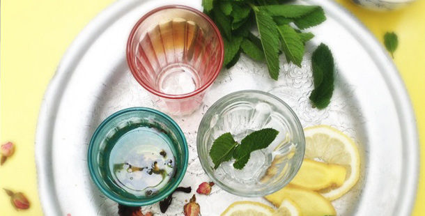 herbal tea infused in glass tumblers