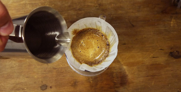 filter coffee being poured into cup