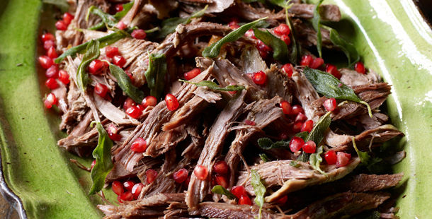 shredded goose with pomegranate and herbs on top