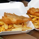 fish and chips in polystyrene boxes