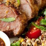 roasted beef with couscous and herbs with tomato