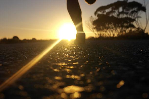 person running sunrise