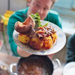 st Geogre's day roast dinner with yorkshire pudding