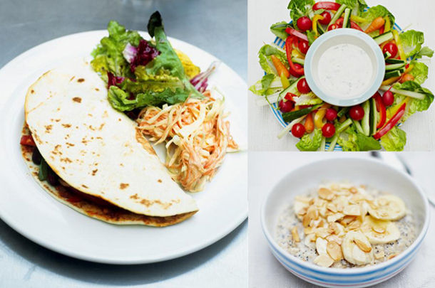 3 recipes for healthy meals - sliced veg salad and dip in the middle, a porridge breakfast with oats and nuts on top and a flatbread with slaw and salad