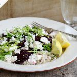 buckweat, beetroot and feta salad with a slice of lemon