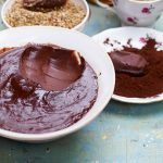 chocolate sauce recipe in a bowl and granola
