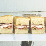 sandwiches filled with ham, cheese and veg