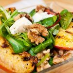 bbq veg with feta and spinach and walnuts