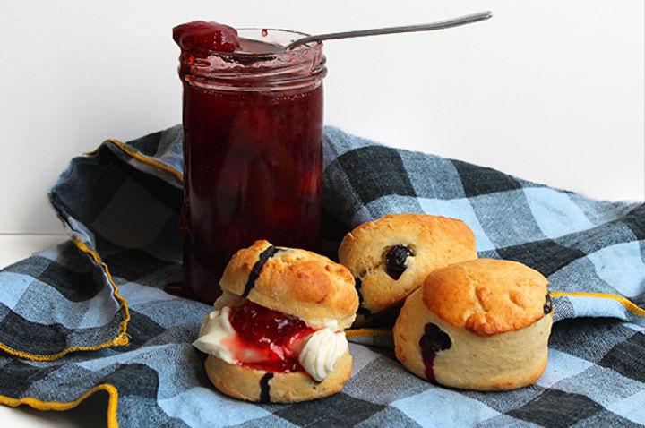 homemade scones with strawberry jam
