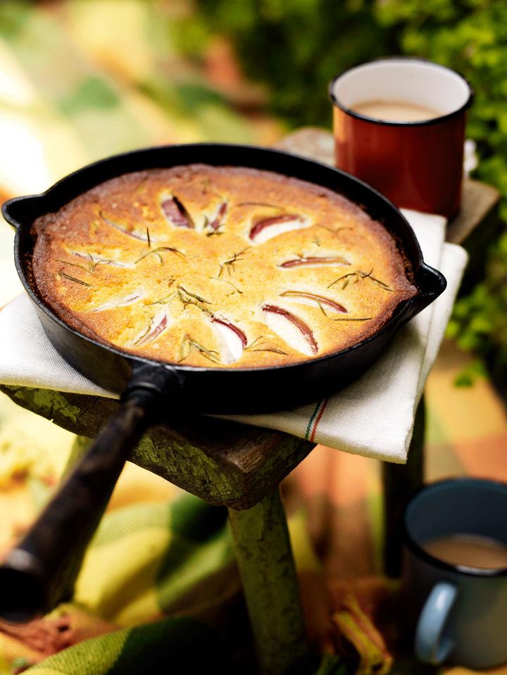 peach and rosemary campfire cake