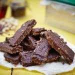 no bake vegan chocolate fudge bar cut into pieces