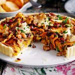 vegetable quiche recipe with mushrooms and vegetables on top