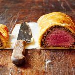beef cooked rare wrapped in pastry and cut in half
