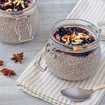 chia seed pudding with star anise, cherries and almond