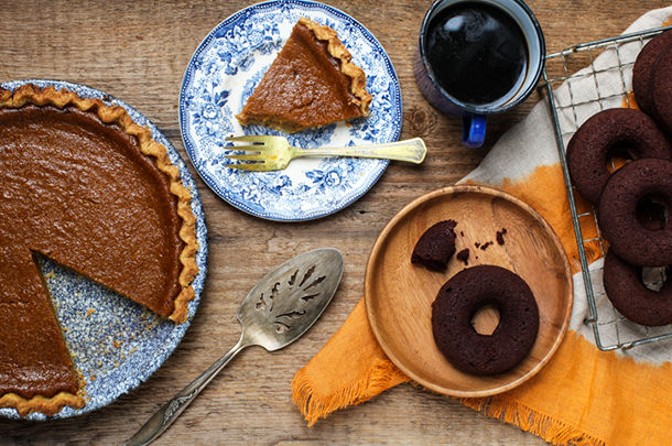 pumpkin desserts, pumpkin pie with coffee and pumpkin donut