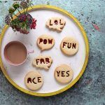fun jammie dodger biscuits with words cut into them