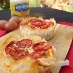 filo pastry with roasted tomatoes on top and hellmans on the side
