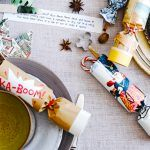 homemade christmas crackers on dining table
