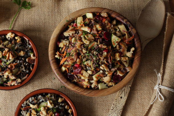 wild rice salad with vegetables in a bowl