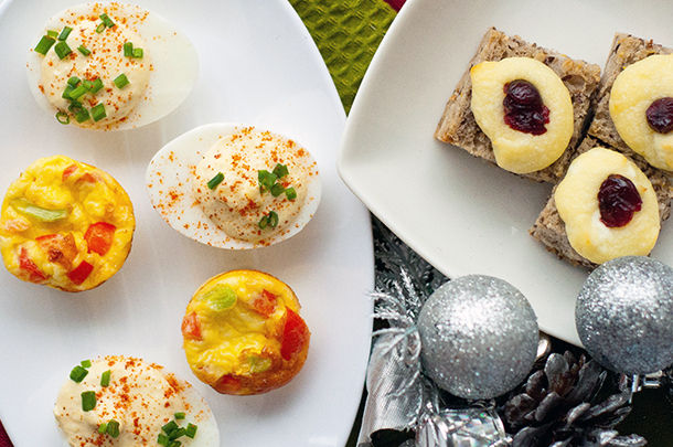 a selection of vegetarian canapes