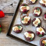 cranberry stuffed mushrooms with nut and cheese