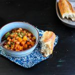 chickpea and veg cider stew with bread