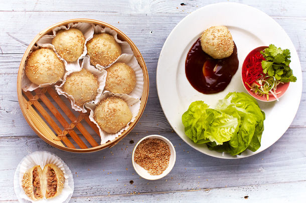 stuffed dumplings with side salad and sweet chilli sauce