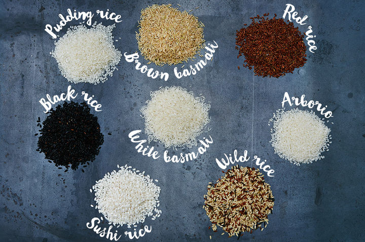 rice varieties scattered on a table
