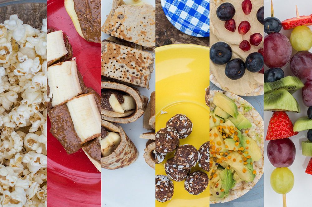 healthy snacks - a selection of images showing fruit snacks and healthy bakes